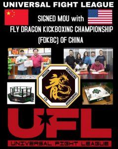 signed mou with fly dragon kickboxing championship fdkbc of china, ufl, universal fight league china